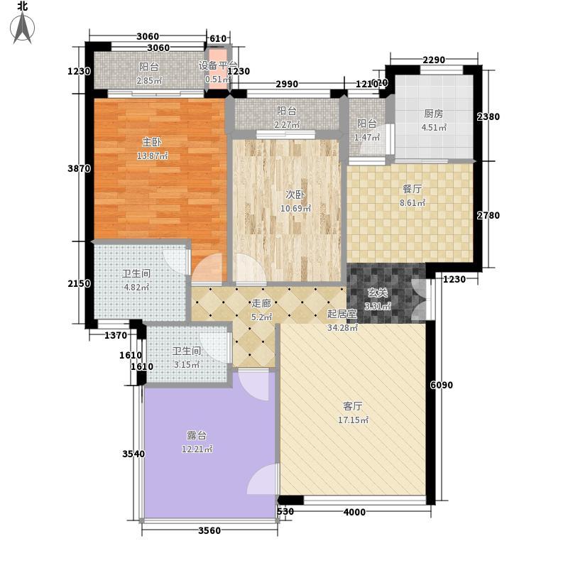龙光阳光海岸102.00㎡DA-3a 户型3室2厅