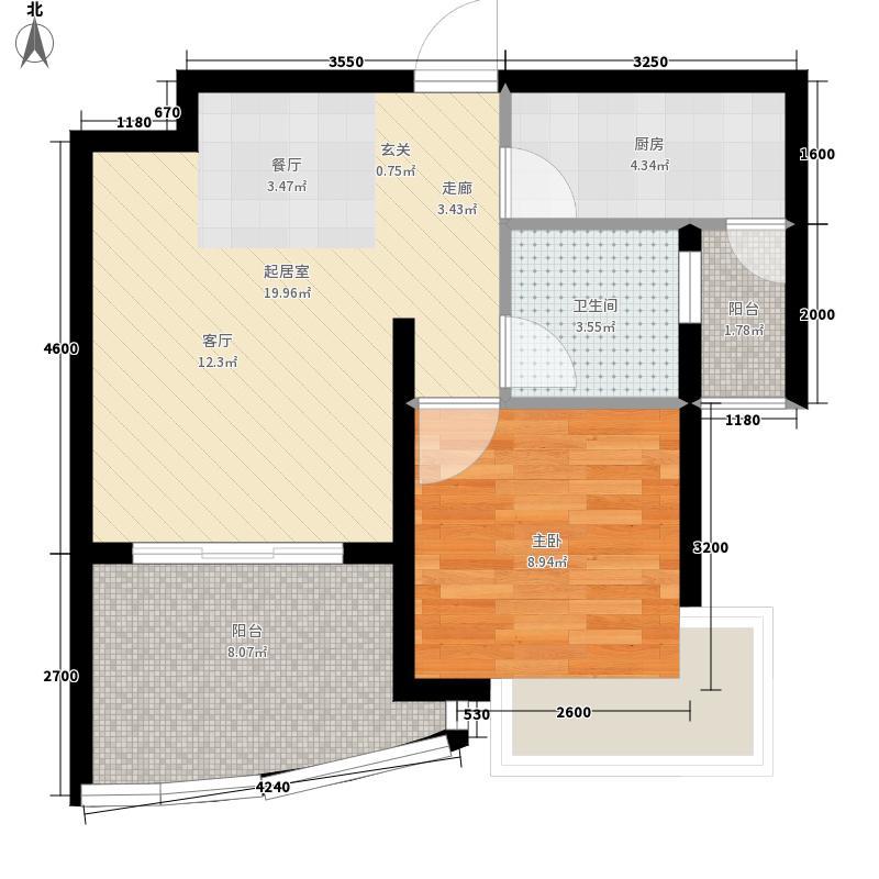 中国铁建·书香小镇62.00㎡A2户型1室2厅