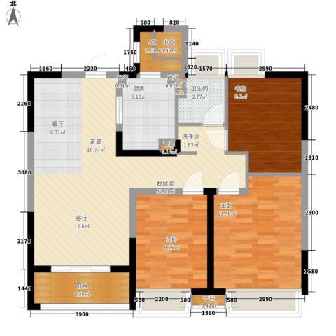 保利星海屿3室0厅1卫1厨92.00㎡户型图