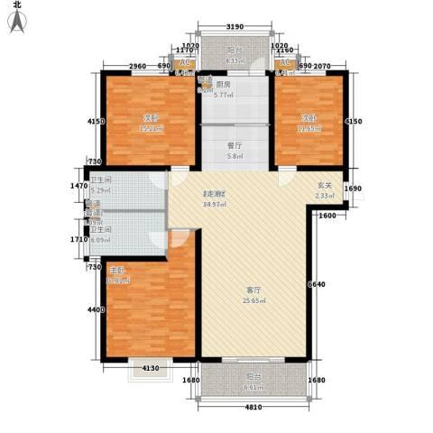 丽都河畔3室0厅2卫1厨174.00㎡户型图