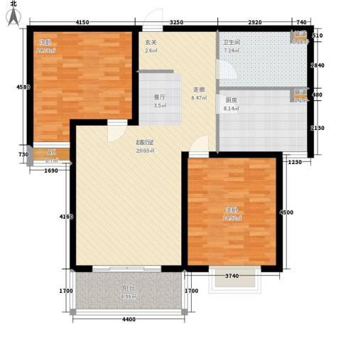 丽都河畔2室0厅1卫1厨124.00㎡户型图