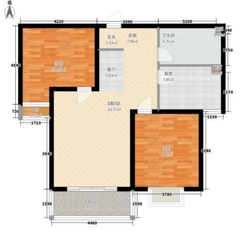 丽都河畔2室0厅1卫1厨120.00㎡户型图