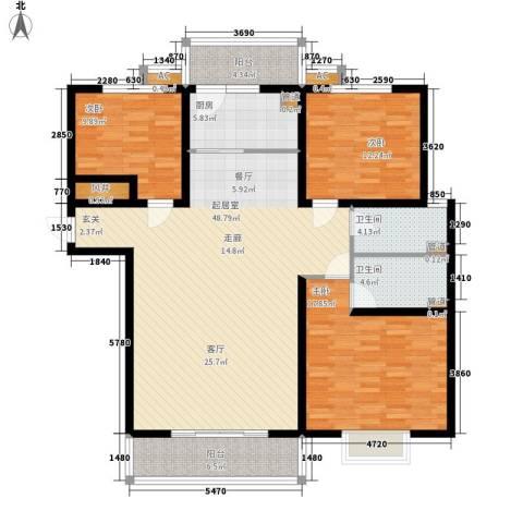 丽都河畔3室0厅2卫1厨166.00㎡户型图