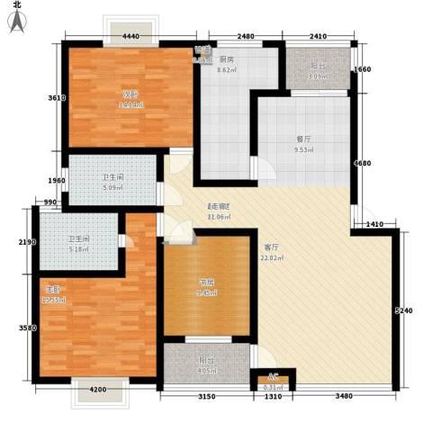 浩立半岛康城3室0厅2卫1厨126.00㎡户型图