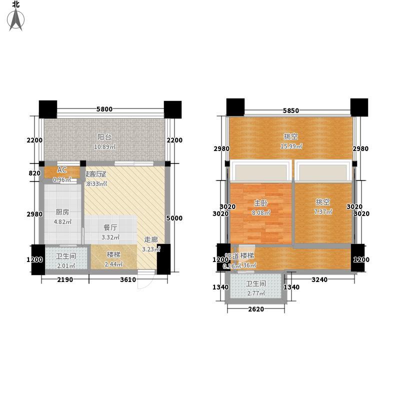 金地国际花园73.00㎡三期7栋三层面积7300m户型