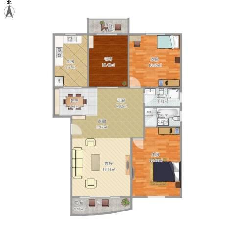 云亭花园3室1厅2卫1厨137.00㎡户型图