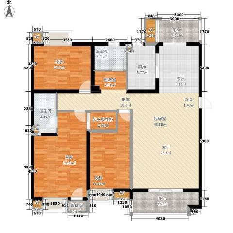合肥岸上玫瑰3室0厅2卫1厨120.98㎡户型图