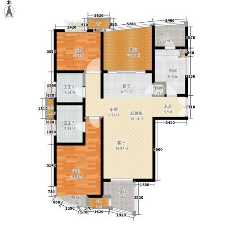 慧芝湖花园二期2室0厅2卫1厨113.00㎡户型图