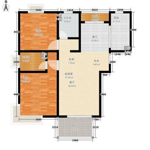 爵仕悦恒大国际公寓2室0厅2卫1厨106.00㎡户型图