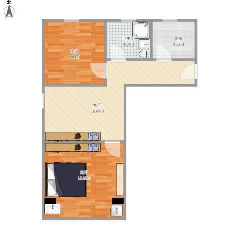 吴中东路500弄小区2室1厅1卫1厨68.00㎡户型图