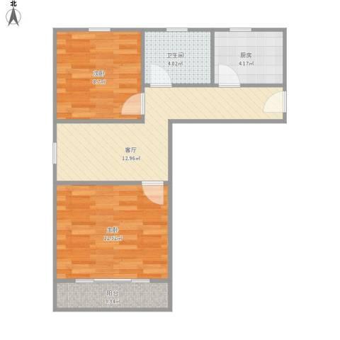 吴中东路500弄小区2室1厅1卫1厨62.00㎡户型图