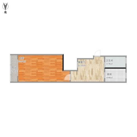 田渡小区1室1厅1卫1厨59.00㎡户型图