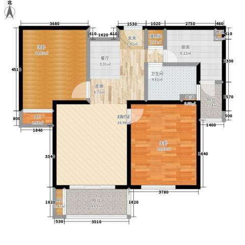 绿地崴廉公寓二期2室0厅1卫1厨90.00㎡户型图