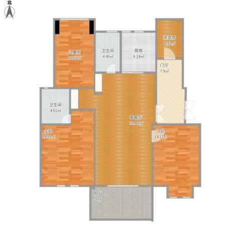 大华紫颐园3室1厅2卫1厨150.00㎡户型图