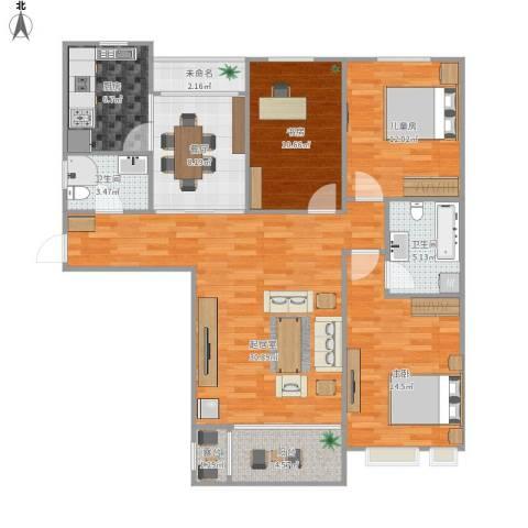 金屋秦皇半岛3室1厅2卫1厨135.00㎡户型图