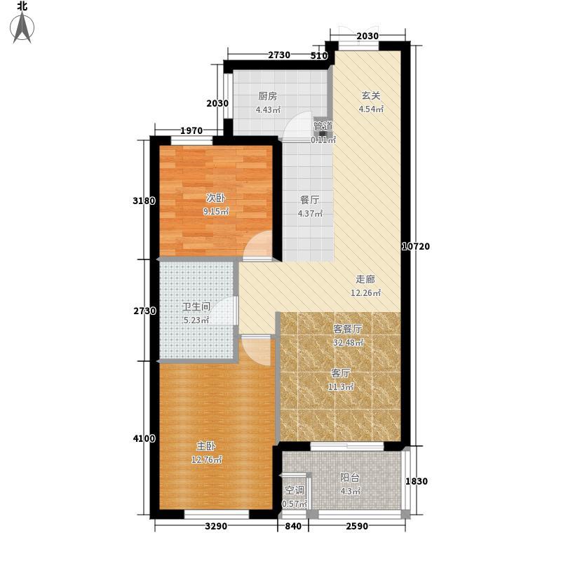 逸城山色78.00㎡高层B户型2室2厅