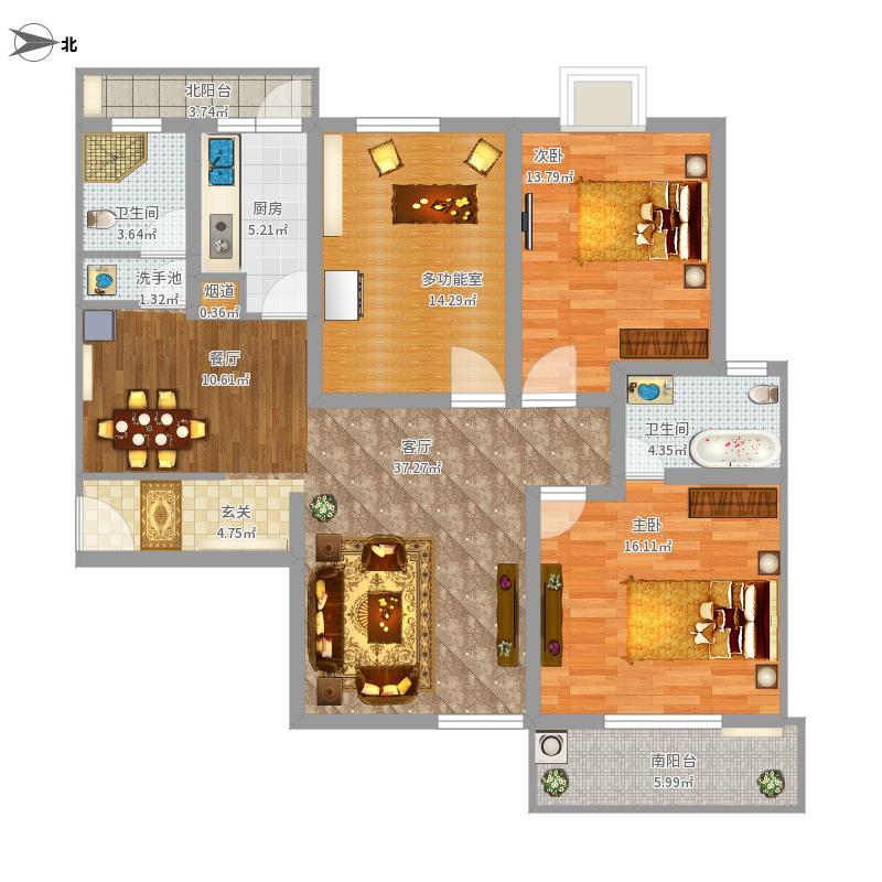 139平方米三室两厅两卫一厨