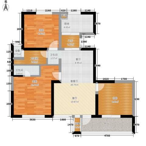 长江国际・朗庭3室1厅2卫1厨87.00㎡户型图