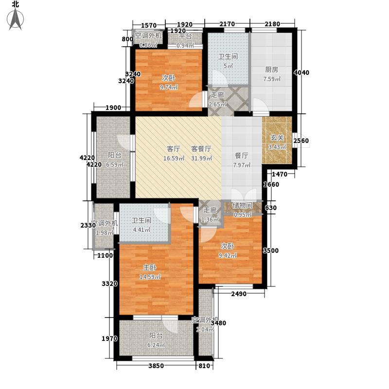 华融蓝海洋115.00㎡一期2#楼边户D户型3室2厅