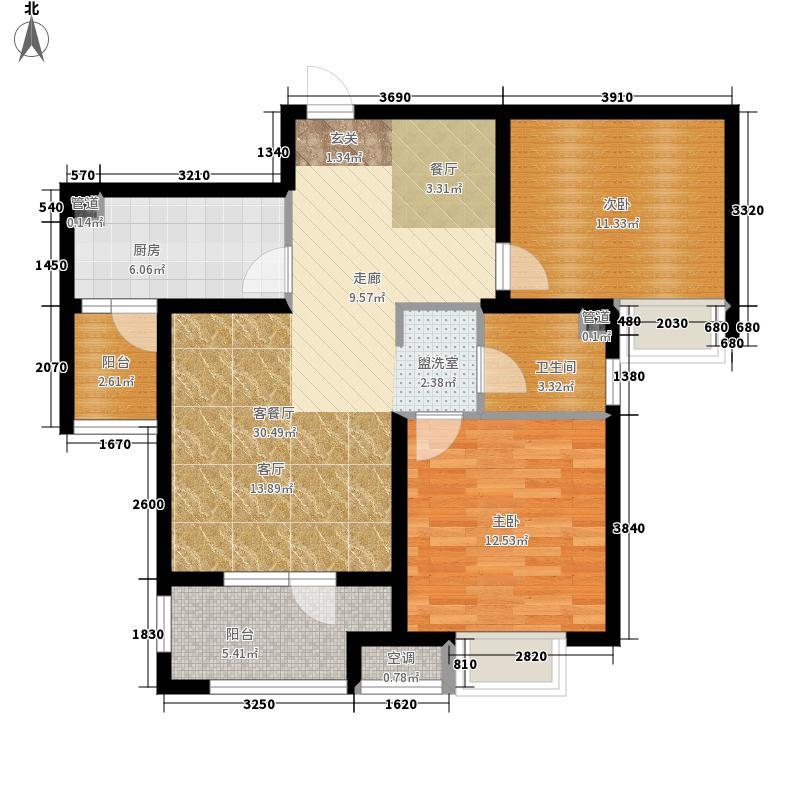 绿地·新里海德公馆84.00㎡绿地·欢乐滨海城建筑面积约为C2户型2室2厅