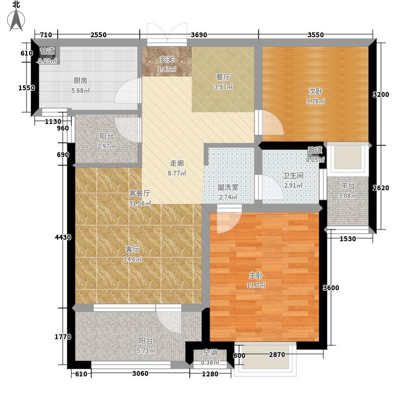 海滨御苑88.00㎡B2户型2室2厅