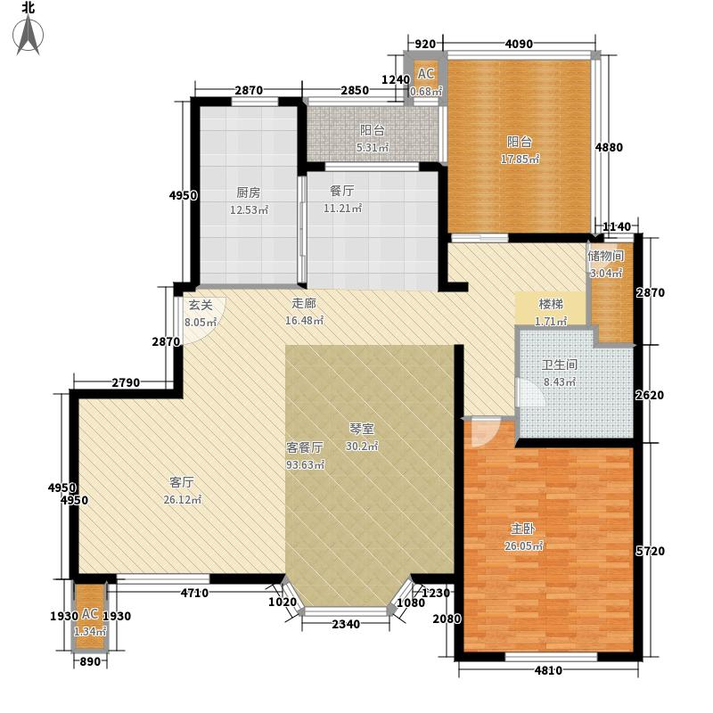 绿地崴廉公寓183.46㎡一期h5b面积18346m户型
