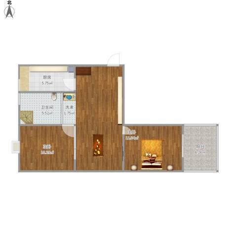 天泽水岸2室1厅1卫1厨83.00㎡户型图