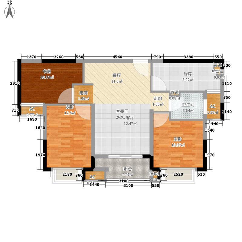 青枫林语93.00㎡户型3室2厅