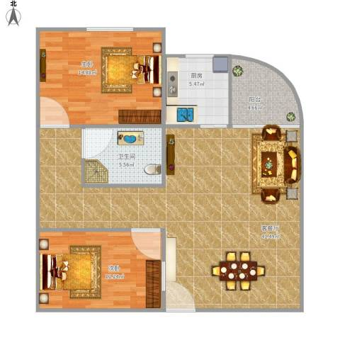 嘉华大厦2室1厅1卫1厨112.00㎡户型图