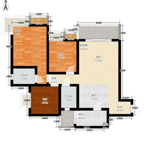浩立半岛康城3室0厅2卫1厨111.00㎡户型图