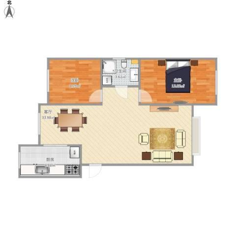 新城御景2室1厅1卫1厨88.00㎡户型图
