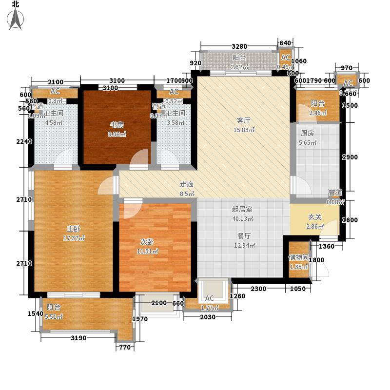 铭城国际社区142.70㎡10、11、12号楼A户型3室2厅