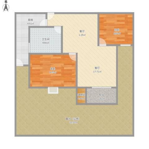 杉林新月家园2室1厅1卫1厨107.00㎡户型图