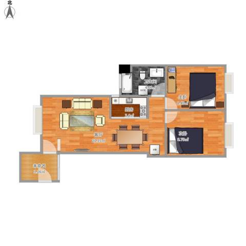 特房美地雅登2室1厅1卫1厨64.00㎡户型图