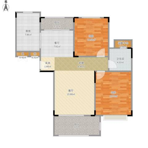 碧桂园凰城2室1厅1卫1厨110.00㎡户型图