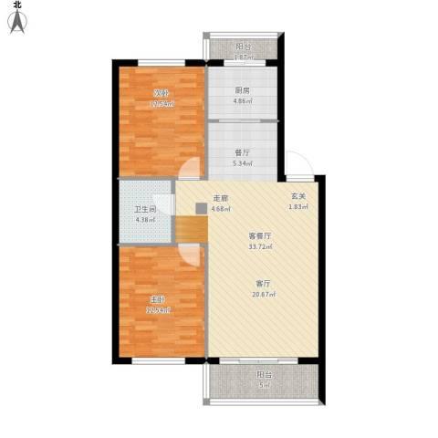 富都丽景2室1厅1卫1厨105.00㎡户型图