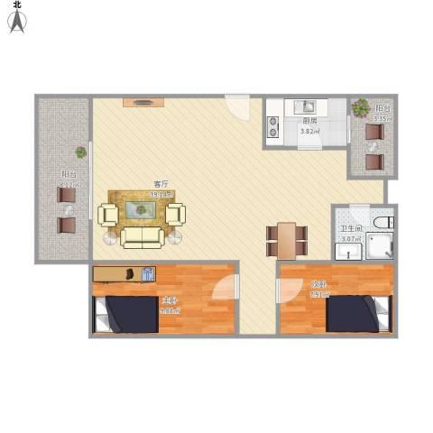 宝兴花园2室1厅1卫1厨101.00㎡户型图
