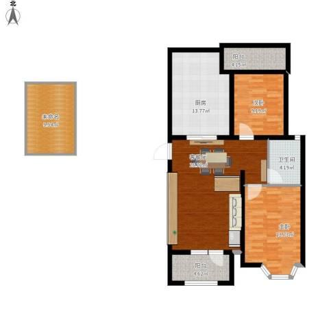 宝境栖园2室1厅1卫1厨122.00㎡户型图