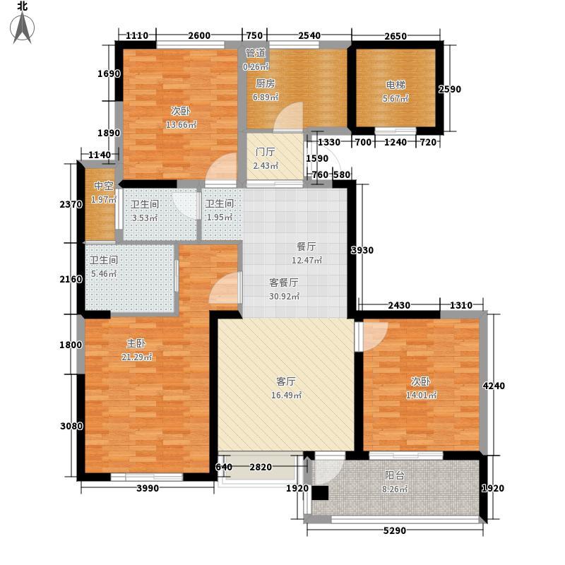 长江国际朗庭129.00㎡长江国际·朗庭F户型3室2厅