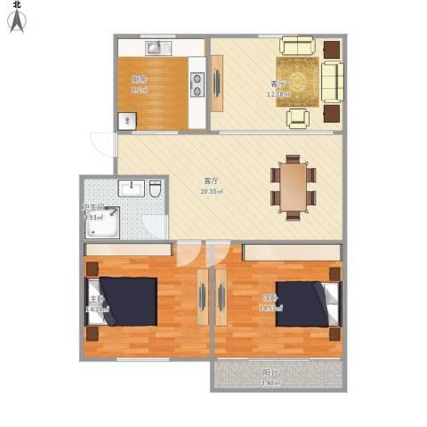 车站新村2室2厅1卫1厨105.00㎡户型图