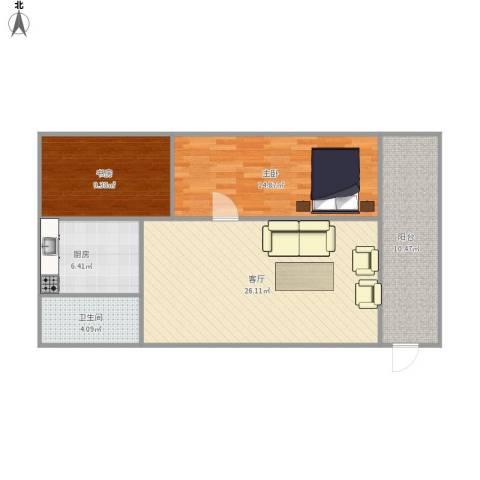 竹苑新村2室1厅1卫1厨96.00㎡户型图