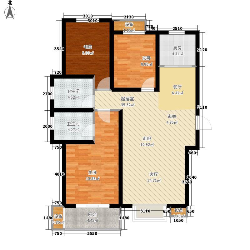 领誉城125.59㎡7号楼F户型3室2厅