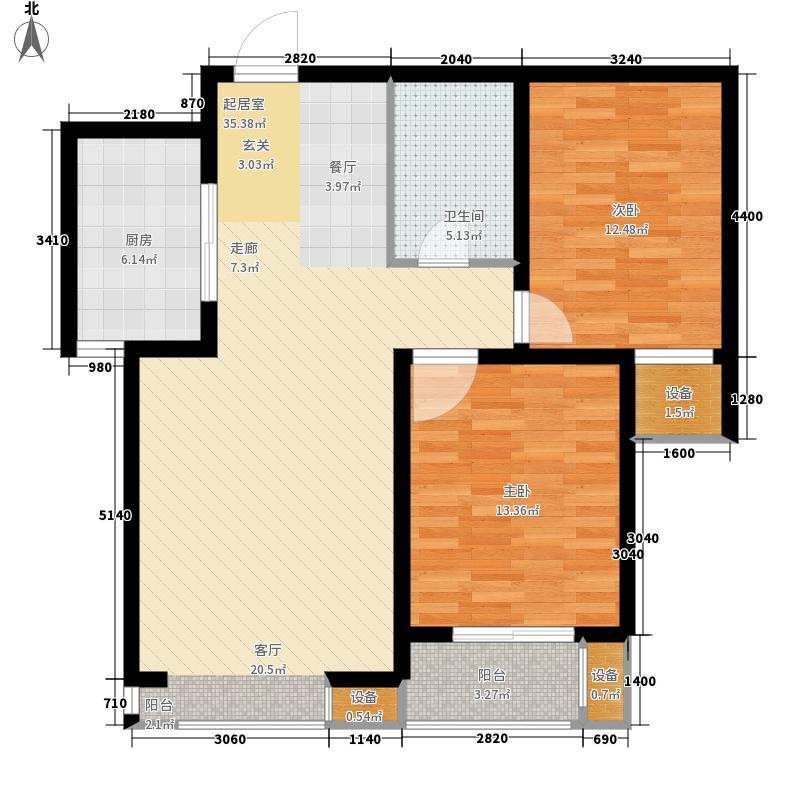 领誉城89.46㎡6号楼B户型2室2厅