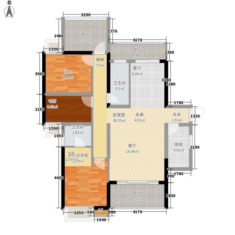 宝能五象湖1号129.00㎡9#楼F户型3室2厅