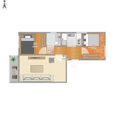 中国铁建・花语城2室1厅1卫1厨56.00㎡户型图