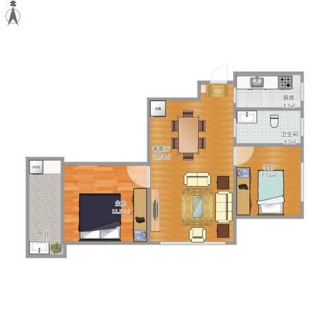 汇嘉新园2室1厅1卫1厨57.55㎡户型图