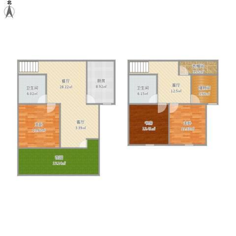 慧芝湖花园一期3室2厅2卫1厨170.00㎡户型图