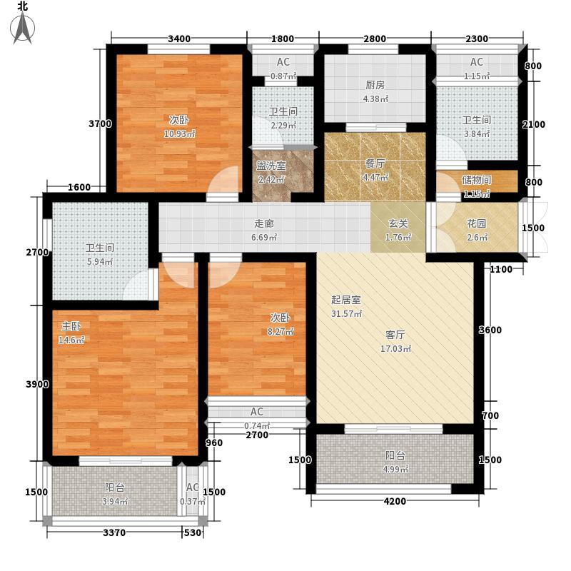 紫御江山128.00㎡2栋F户型3室2厅