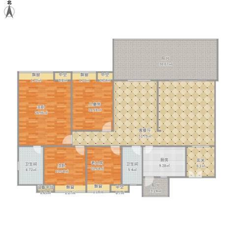 广东化州汇景新城E栋4室1厅2卫1厨243.00㎡户型图