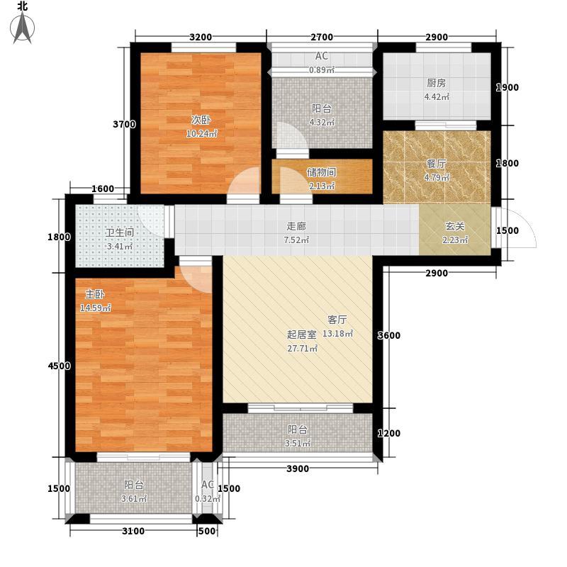 紫御江山100.00㎡3栋C户型2室2厅